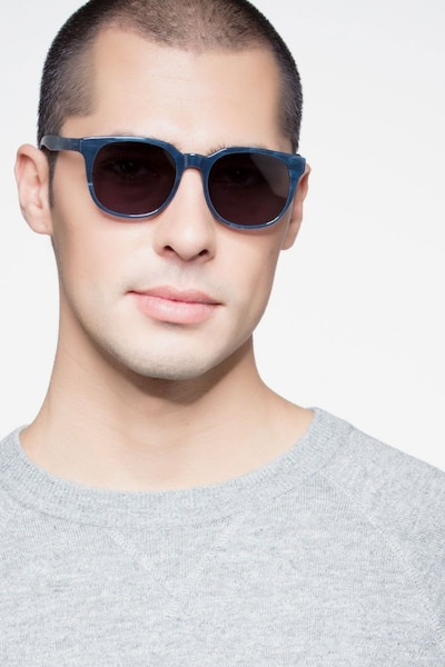Tempest Blue Acetate Sunglass Frames for Men from EyeBuyDirect, Front View