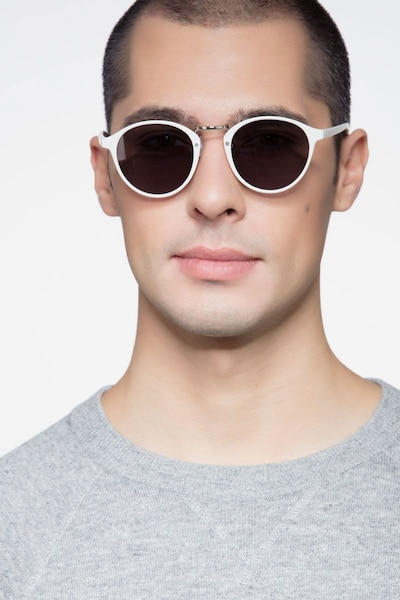 Millenium White Plastic Sunglass Frames for Men from EyeBuyDirect, Front View