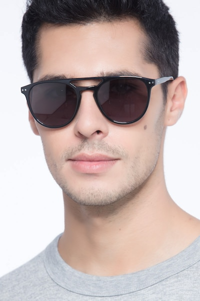 Meadow Black Plastic Sunglass Frames for Men from EyeBuyDirect, Front View