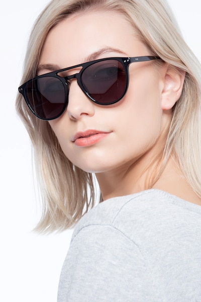 Meadow Black Plastic Sunglass Frames for Women from EyeBuyDirect, Front View