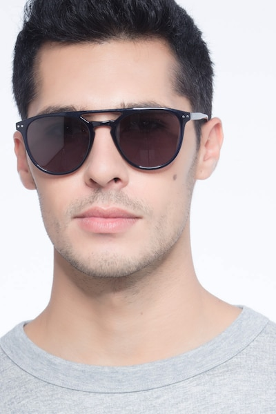 Meadow Navy Plastic Sunglass Frames for Men from EyeBuyDirect, Front View
