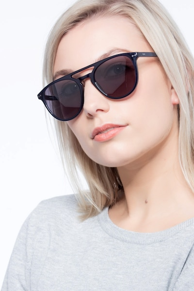 Meadow Navy Plastic Sunglass Frames for Women from EyeBuyDirect, Front View