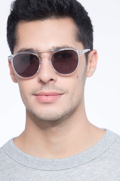 Meadow Clear Plastic Sunglass Frames for Men from EyeBuyDirect, Front View