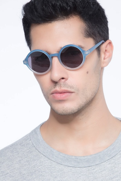 Solstice Blue Clear Plastic Sunglass Frames for Men from EyeBuyDirect, Front View