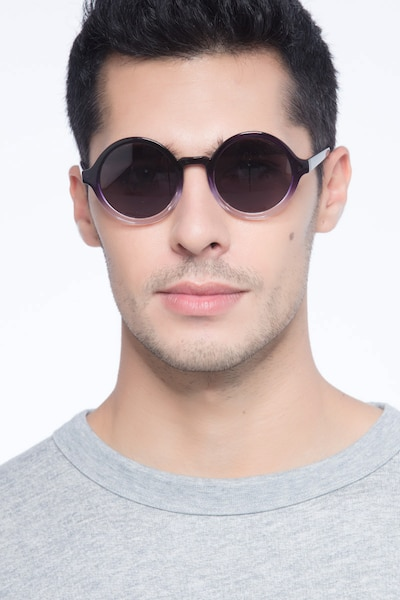 Solstice Purple Clear Plastic Sunglass Frames for Men from EyeBuyDirect, Front View