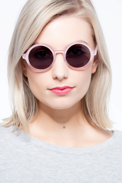 Solstice Pink Clear Plastic Sunglass Frames for Women from EyeBuyDirect, Front View