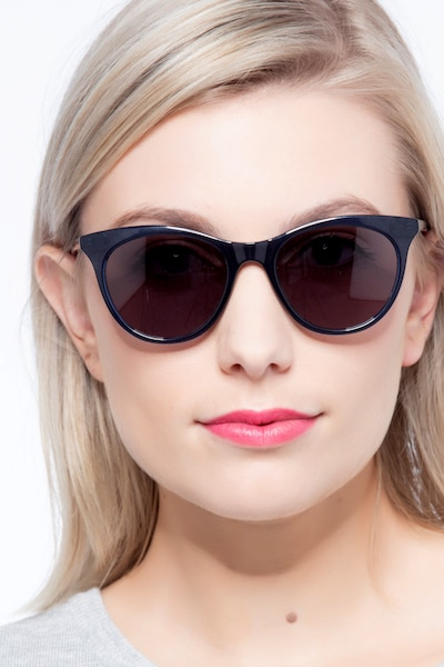 Cartel Clear Navy Plastic Sunglass Frames for Women from EyeBuyDirect