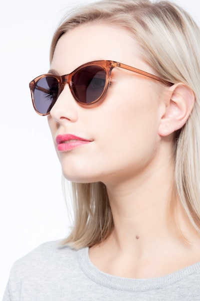 Cartel Clear Brown Plastic Sunglass Frames for Women from EyeBuyDirect, Front View