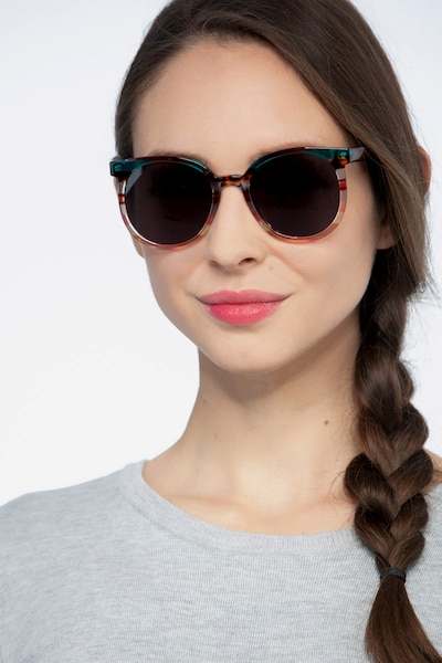 Valence Red Green Acetate Sunglass Frames for Women from EyeBuyDirect, Front View