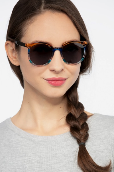 Valence Brown Blue Acetate Sunglass Frames for Women from EyeBuyDirect, Front View