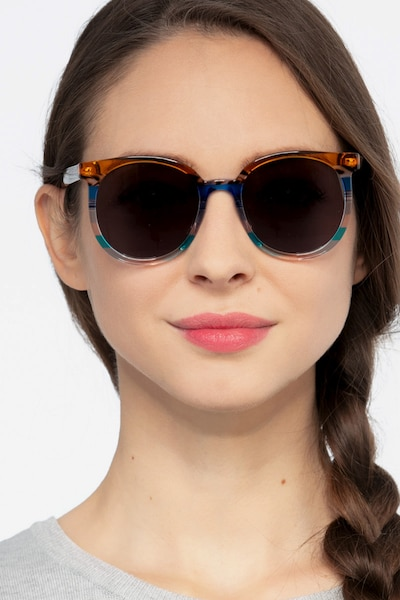 Valence Brown Blue Acetate Sunglass Frames for Women from EyeBuyDirect
