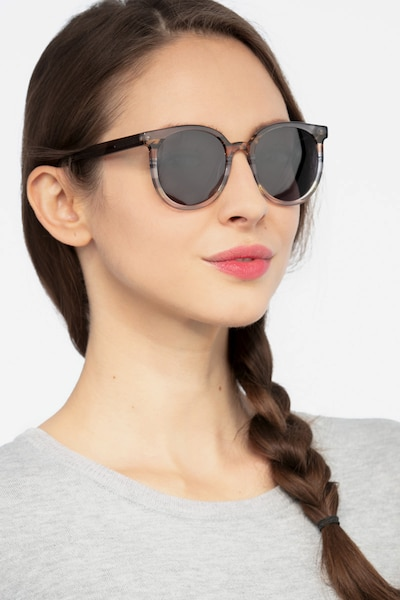 Valence Gray Brown Acetate Sunglass Frames for Women from EyeBuyDirect, Front View