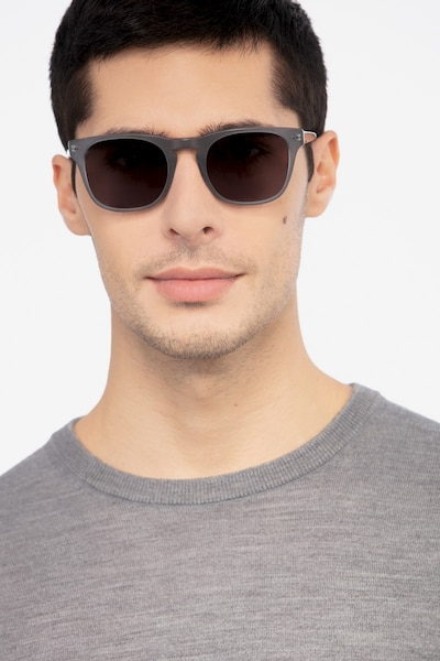 Daikon Gray Acetate Sunglass Frames for Men from EyeBuyDirect, Front View
