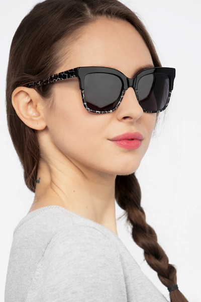 Intrigue Black Leopard Acetate Sunglass Frames for Women from EyeBuyDirect, Front View