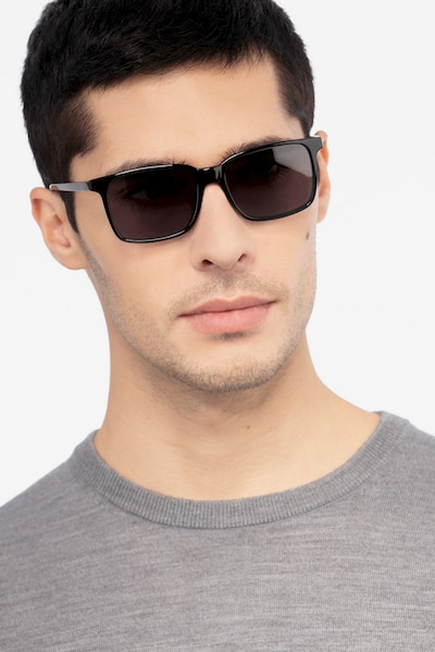 Epoch Black Acetate Sunglass Frames for Men from EyeBuyDirect, Front View