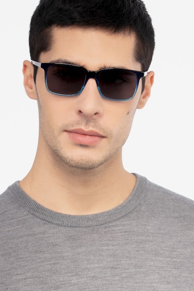 Epoch Blue Acetate Sunglass Frames for Men from EyeBuyDirect, Front View