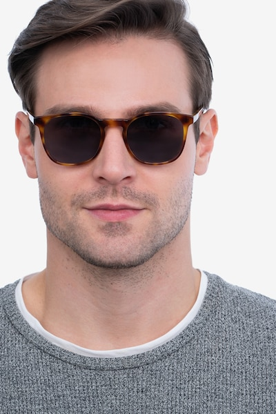 Safari Tortoise Acetate Sunglass Frames for Men from EyeBuyDirect, Front View