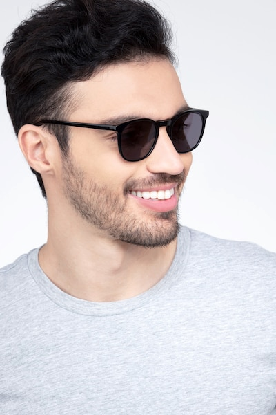 Safari Black Acetate Sunglass Frames for Men from EyeBuyDirect, Front View