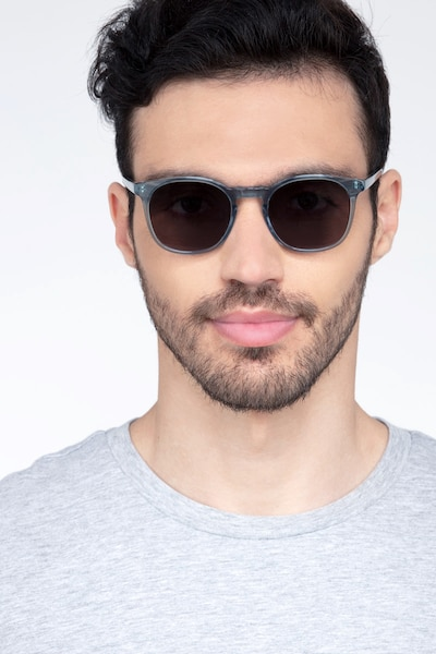 Safari Clear Blue Acetate Sunglass Frames for Men from EyeBuyDirect, Front View