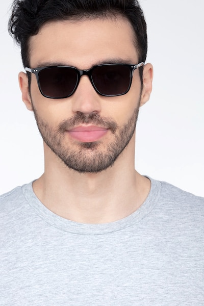 Luck Black Acetate Sunglass Frames for Men from EyeBuyDirect, Front View