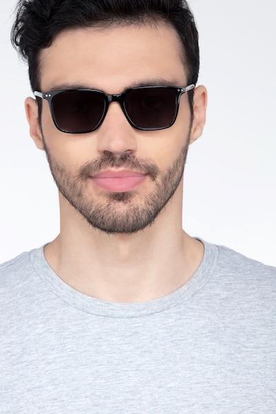 Luck Noir Acétate Soleil de Lunettes pour Hommes d'EyeBuyDirect, Vue de Face