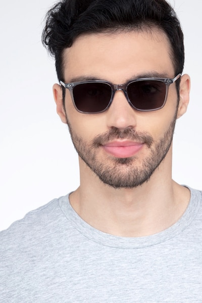 Luck Clear Gray Acetate Sunglass Frames for Men from EyeBuyDirect, Front View