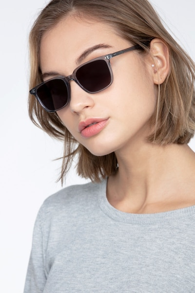 Luck Clear Gray Acetate Sunglass Frames for Women from EyeBuyDirect, Front View
