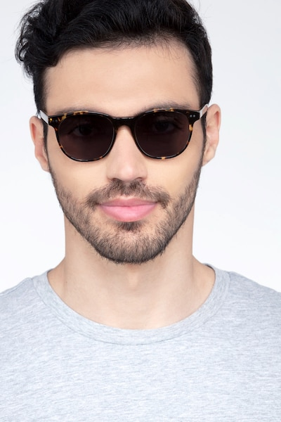 Sol Tortoise Brown Acetate Sunglass Frames for Men from EyeBuyDirect, Front View