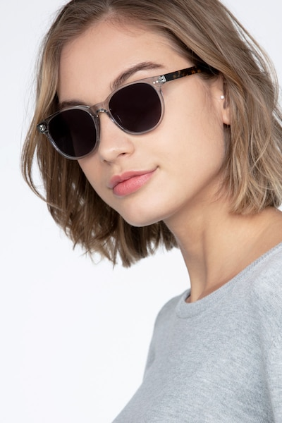 Sol Gray Clear Acetate Sunglass Frames for Women from EyeBuyDirect, Front View