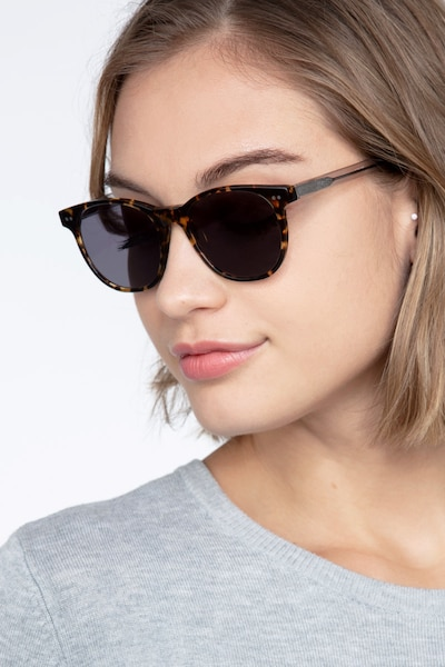 Sol Tortoise Gray Acetate Sunglass Frames for Women from EyeBuyDirect, Front View