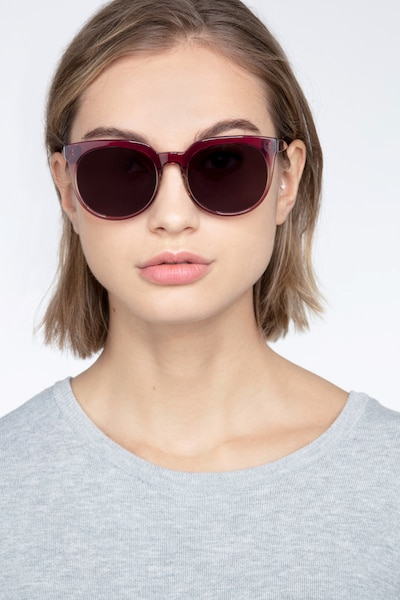 Queen Red Clear Acetate Sunglass Frames for Women from EyeBuyDirect, Front View
