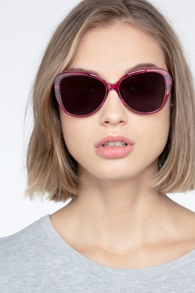 Believe Pink Acetate Sunglass Frames for Women from EyeBuyDirect, Front View