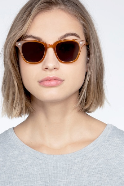 Sao Paulo Brown Acetate Sunglass Frames for Women from EyeBuyDirect, Front View