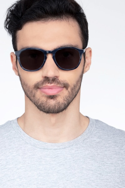 Acapulco Striped Acetate Sunglass Frames for Men from EyeBuyDirect, Front View