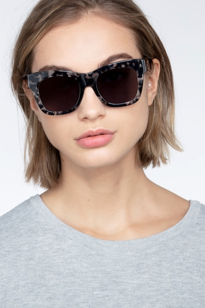 Calico Gray Floral Acetate Sunglass Frames for Women from EyeBuyDirect, Front View