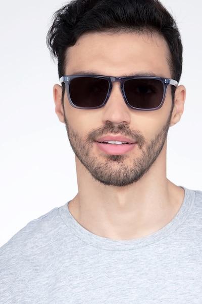 Cantina Bleu Acétate Soleil de Lunettes pour Hommes d'EyeBuyDirect, Vue de Face