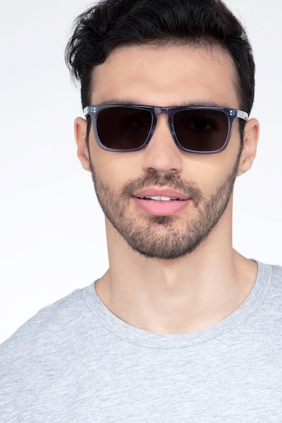 Cantina Blue Acetate Sunglass Frames for Men from EyeBuyDirect