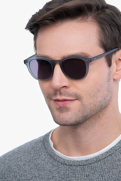 Hidden Gray Plastic Sunglass Frames for Men from EyeBuyDirect, Front View