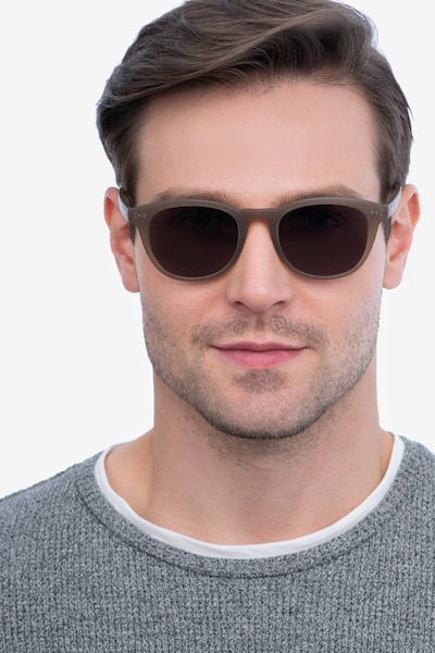 Hidden Brown Plastic Sunglass Frames for Men from EyeBuyDirect, Front View