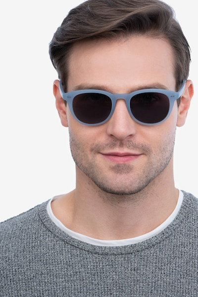 Hidden Blue Gray Plastic Sunglass Frames for Men from EyeBuyDirect, Front View