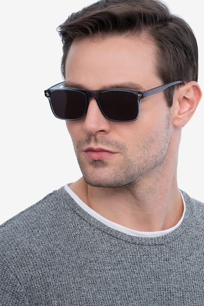 Cortez Gray Plastic Sunglass Frames for Men from EyeBuyDirect, Front View