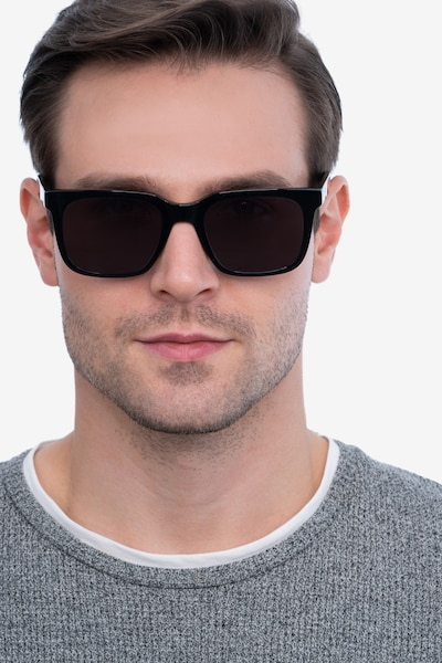 Riddle Black Acetate Sunglass Frames for Men from EyeBuyDirect, Front View