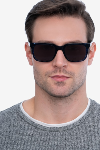 Riddle Blue Striped Acetate Sunglass Frames for Men from EyeBuyDirect