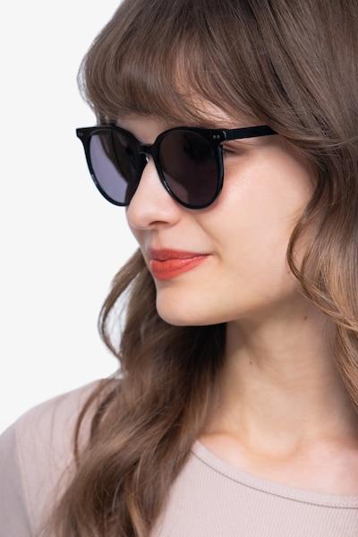 Hideout Noir Acétate Soleil de Lunettes pour Femmes d'EyeBuyDirect, Vue de Face