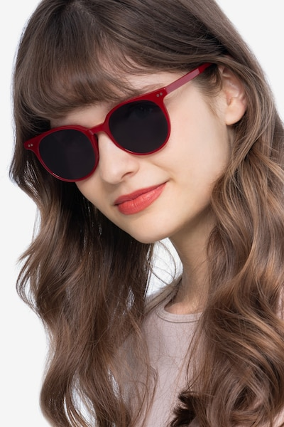Hideout Red Acetate Sunglass Frames for Women from EyeBuyDirect, Front View