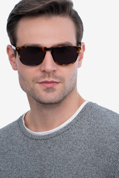 Wave Tortoise Acetate Sunglass Frames for Men from EyeBuyDirect, Front View