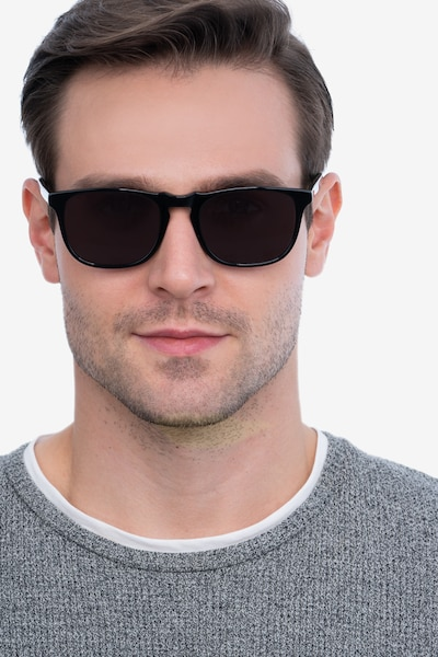 Wave Black Acetate Sunglass Frames for Men from EyeBuyDirect, Front View