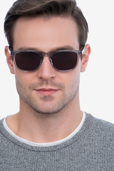 Wave Gray Acetate Sunglass Frames for Men from EyeBuyDirect, Front View