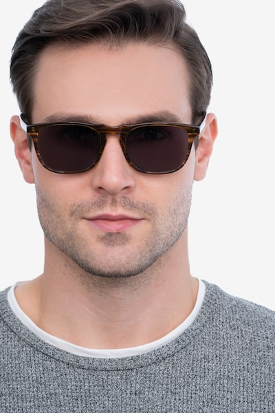 Wave Striped Acetate Sunglass Frames for Men from EyeBuyDirect, Front View