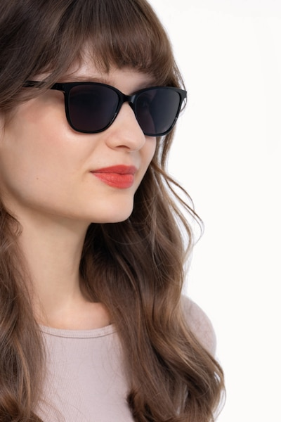 Halle Black Acetate Sunglass Frames for Women from EyeBuyDirect, Front View